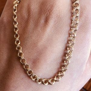 10k Gold Triple Ring Link Chain Necklace